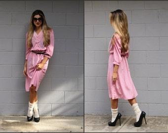 Vtg Vintage 80s Sweet Valentine Secretary Dress pink sheer party dress XS S M