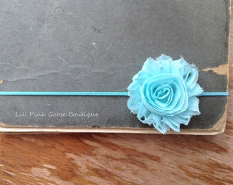 SKINNY AQUA Headband, Newborn Headband, Shabby Chic, Newborn Baby, Headbands, Infant Headbands, Headbands for Babies, Headbands for Baby