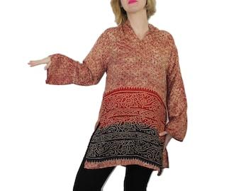 Hippie Tunic Top - Mandarin Collar Bell Sleeves BATIK ACID WASH T-Shirt Dress Wanderlust Shirt Ethnic Top Geo Indian Print Long Cream Red