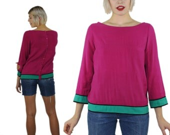 Magenta Blouse - Colorblock Pink Button Back Tri Color Top Silky Seaform Shirt Green Rayon Color Blocked M Medium Womens Boat Neck Designer