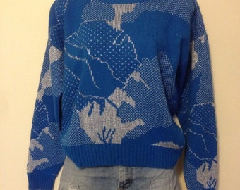 Vintage blue and silver sweater medium