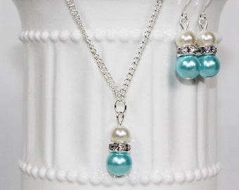 Bridesmaid Pearl Ivory and Aqua Blue Jewelry Set Pearl Necklace, Pearl Earrings, Bridesmaid Jewelry, Bridesmaid Gift, Wedding Jewelry