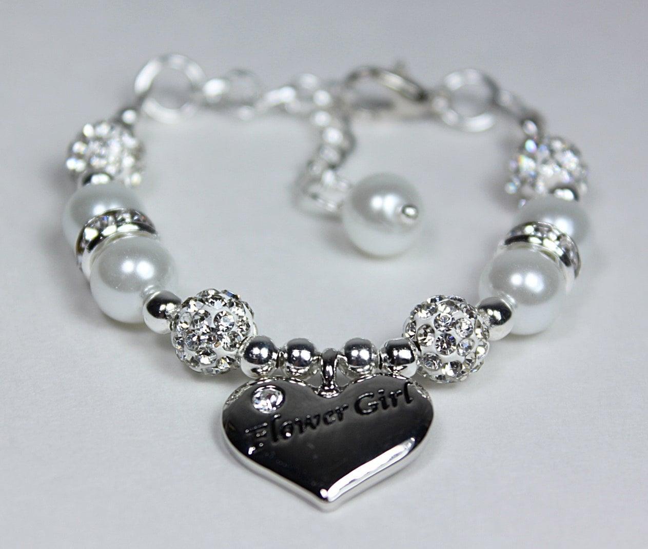 Design Your Own Custom Bangle Charm Bracelet Pick Your Charms: Flowergirl Bracelet Pearl Charm Bracelet Girls Wedding