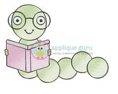 Bookworm Doodle -- Machine Embroidery Design