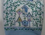 Upcycled linen calender towel market tote bag, reuseable shopping bag, produce bag with Bird houses