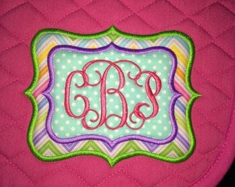 Custom English Embroidered Saddle Pad -  Double-Applique Monogram All Purpose, Dressage or Pony