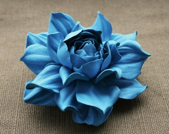 Turquoise Leather Rose Flower Brooch