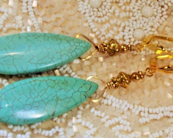 Earrings Handmade Long Turquoise Magnesite GP Customized Ear Wires Big Bold Exotic Forest to Runway Statement
