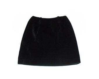 Vintage 1980 Designer Black Cotton Velveteen Fully Lined Banana Republic Short Mini Skirt Side Hidden Zipper - Garden Party or Office Size 2