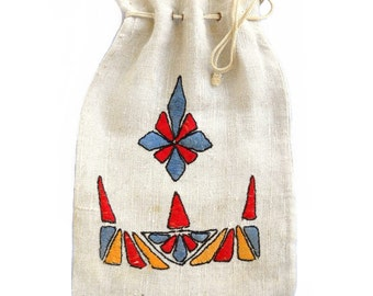 Antique Vintage 1920s Signed Arts and Crafts Embroidered Linen Flapper Purse Handbag - Red Blue Gold Downton Abbey Textile