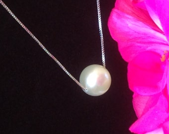 BRIDAL GIFT - Large 9mm AAA+++ White Round Freshwater Pearl Necklace, 925 Sterling Silver Necklace, Stunning Solitaire Pearl Wedding Jewelry
