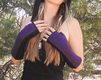 Alpha Arm Warmers: Wool Bamboo Hand Warmers. Lined Fingerless Gloves with Thumbholes. Wool Bamboo Viscose lined with Organic Cotton Bamboo.