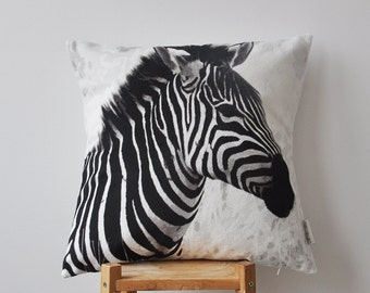 "ON SALE Modern Zebra Decorative Pillow, Fathers Day Throw Pillow, Cushion Cover, Kids Animal Pillow, Safari Pillow 18""x18"""