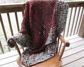 "Christmas Carol Afghan 58""x50"" Crochet Acrylic Washable Handmade Victorian Red Green Chunky Thick Soft Primitive Decor"