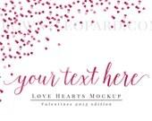 Styled Stock Photography (48) - heart confetti, Valentines Artwork Mockup for prints, web, blog, stationery, art