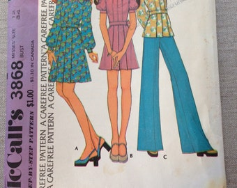 McCall's pattern 3868 from 1973. Dress, tunic, and bell bottom pants.