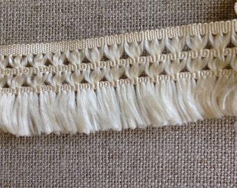 "Vintage off white silk 1"" fringe, French.19th century"