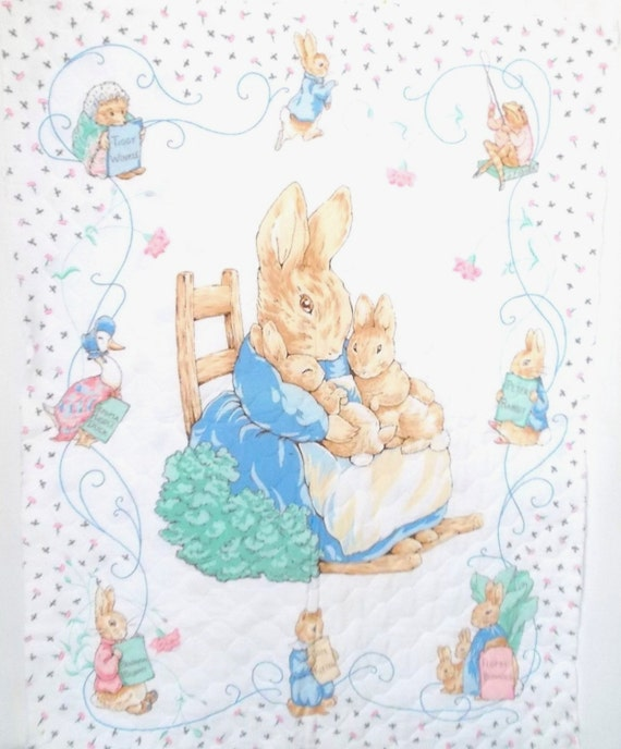 Vintage Quilted Panel Peter Rabbit Quilt Panel Beatrix Potter