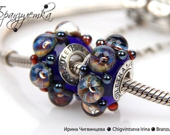Galaxy - 1 pc European Beads lampwork blue shining transparent - Charm with a large hole - 925 silver core
