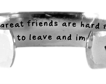 """Truly great friends are hard to find, difficult to leave..impossible to forget. - Hand Stamped Aluminum Cuff Bracelet 1/2"""" x 6"""" by Lulaport"""