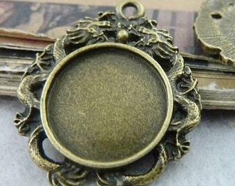 10PCS antique bronze 16mm pendant trays dragon round bezel cabochon mountings- XC6513