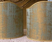 Pair of Clip-On Shield Shades Reseda Green and Gold Rubelli Venier Jacquard Fabric Mini Lampshade - Made in Italy