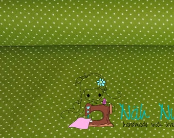 0,5 x 1,40 m COTTON fabric POLKA DOTS 2 mm, green, white dotted, 100% cotton
