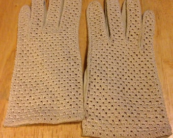 Beige Stretch Driving Gloves