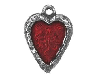 Danforth Crimson Heart 3/4 inch ( 19 mm ) Pewter Charm Pendant