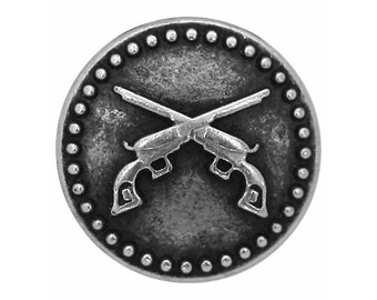 30 Pistols 3/4 inch ( 20 mm ) Metal Buttons Antique Silver Color
