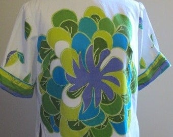 SALE 1950s Alex Colman Screenprinted Shift Blouse sz m/l