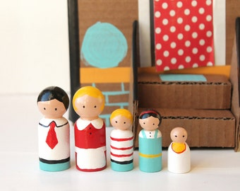 Children's Wooden Toys - Family Peg Dolls
