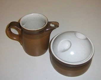 Mikasa Buckskin Potters Art Creamer and Sugar with Lid - Ben Seibel Design