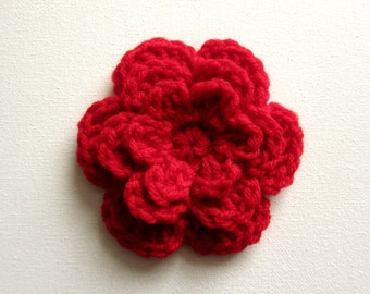 "1pc 4"" Crochet RED Three-Layer Flower Applique"