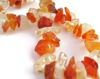 Carnelian Bracelet gemstone chip bracelet unisex stretch bracelet handmade jewelry gift for her Halloween gift for him Fall jewelry orange