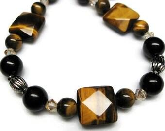 Tiger eye bracelet black beaded bracelet black jasper bracelet black and silver gift for her Birthday fashion jewelry