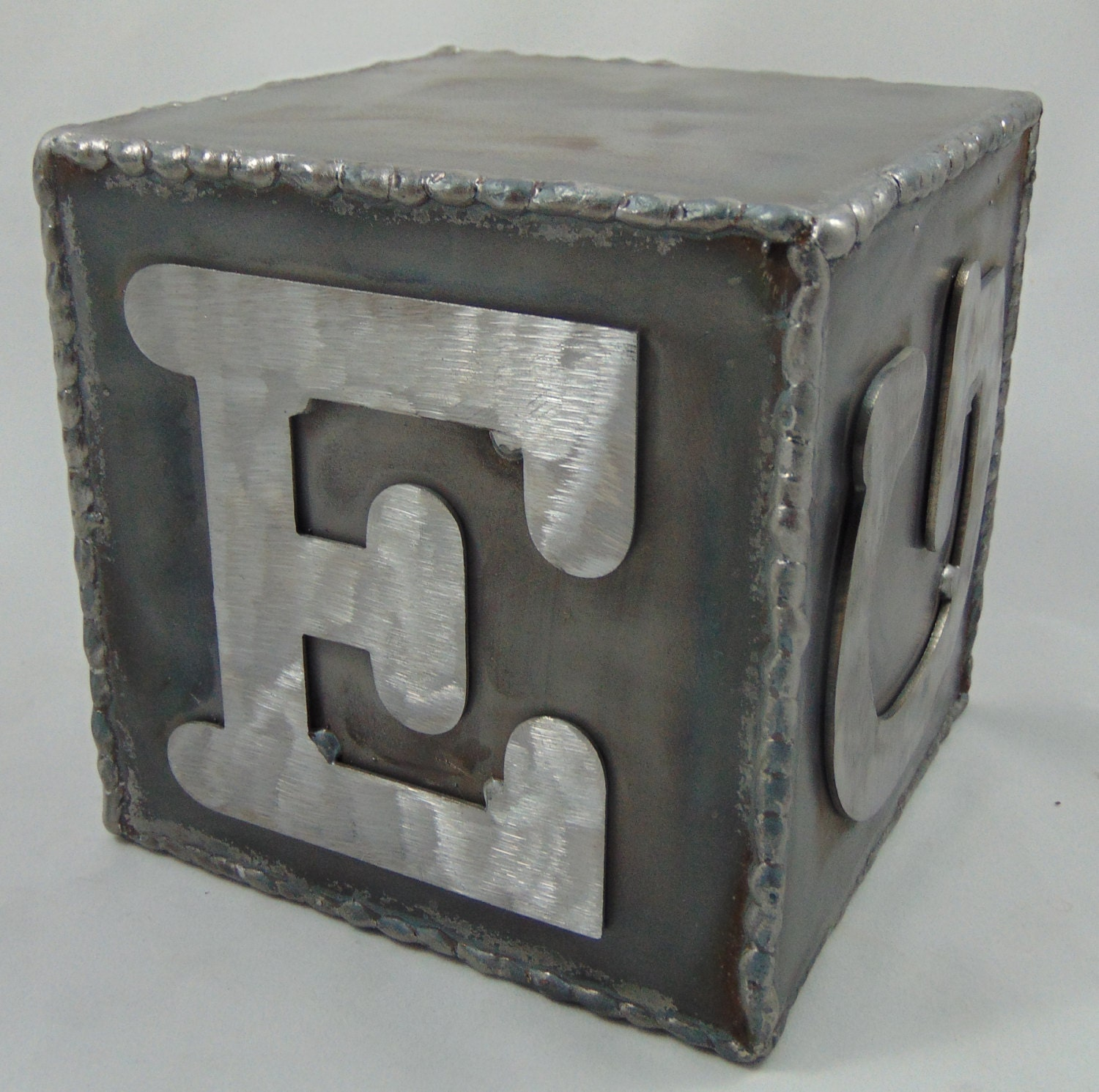 Metal alphabet block with custom letters 5 decor for Custom block letters