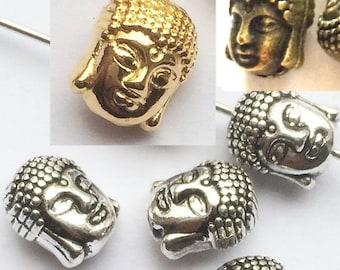 6 Metal BUDDHA head. Silver, Gold and Bronze Metal Buddha Head Bracelets Charms Beads Jewelry supplies craft supply handmade jewelry