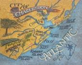 Charleston South Carolina  Beach Map   Print , art