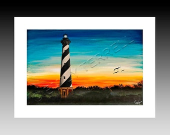 Black and White Cape Hatteras Lighthouse Print