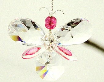 Pink Butterfly Ornament Swarovski Crystal Suncatcher Christmas Gift Wedding Garland Car Charm Baby Mobile Hanging Rear View Mirror Charm