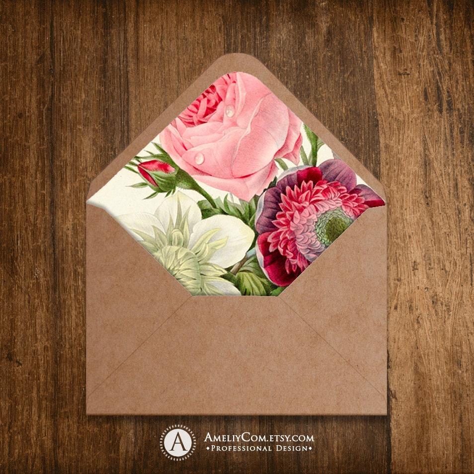 printable envelope liner botanical print 85 x 11 instant
