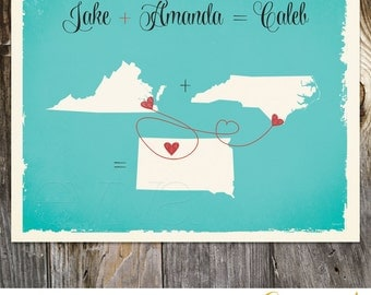 Three US States Custom Wedding Print Destination Wedding Gift Memento alternative Signature Guest Books Map Baby Family