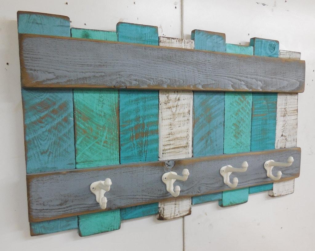 Nautical coat rack beach theme coat rack rustic beach wall for Outdoor themed bathroom decor
