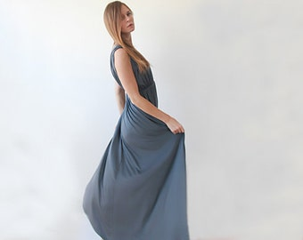 Bridesmaids gray maxi gown , Grey gown with short sleeves 1003
