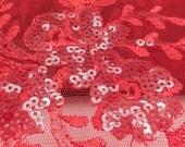 Dahlia Sequin Net Lace Red 60 inch Fabric by the Yard,1 Yard