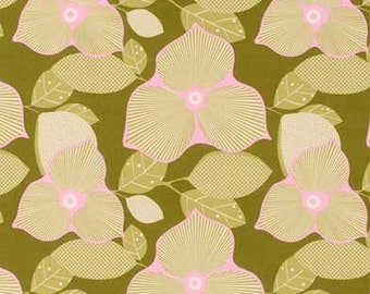 ℳ Amy Butler 100% cotton Large print designer collection 45 inches wide AB27 Optic Blossom in Olive fabric by the Yard, 1 yard