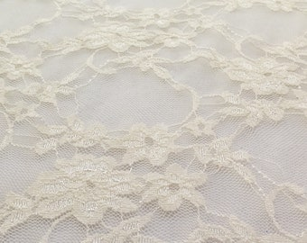 Giselle Stretch Floral Lace Ivory 58 Inch Wide Fabric by the Yard, 1 yard