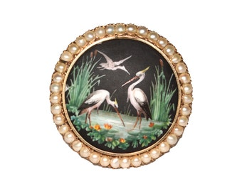 Antique Hand Painted Porcelain and 14k Yellow Gold Bird Pin