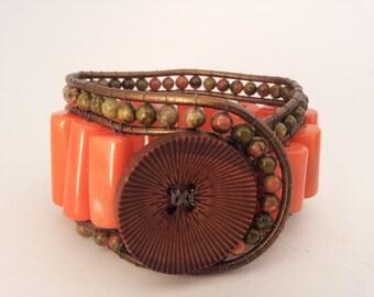 Bead Bracelet, Ladies Jewelry, Anniversary Gift, Woman Bracelet, Leather Bracelet, Bohemian Bracelet, Wrap Bracelet, Gift for Mom, Sister